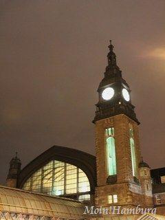 夜のハンブルク中央駅